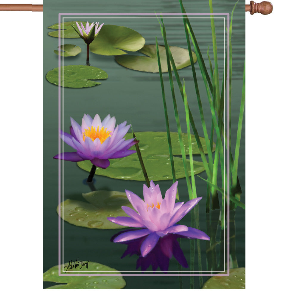 28 in. Lotus Pond House Flag - Aquatic Gardens
