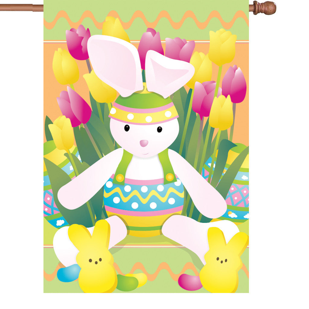 28 in. Easter House Flag  - Springtime Bunny