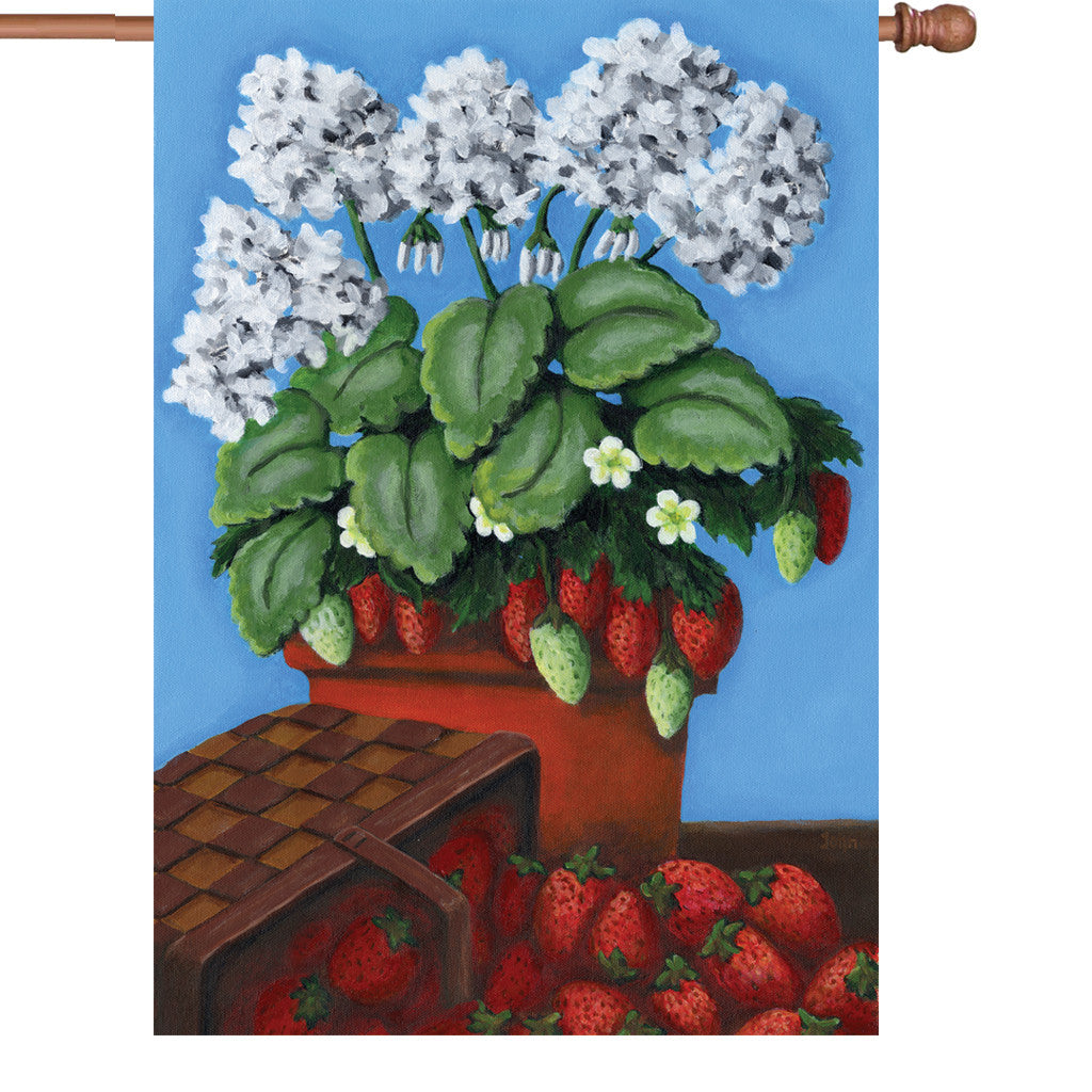 28 in. Strawberry House Flag - Berry Basket