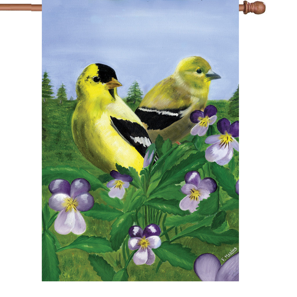 28 in. Summertime Bird House Flag - Goldfinches & Violets
