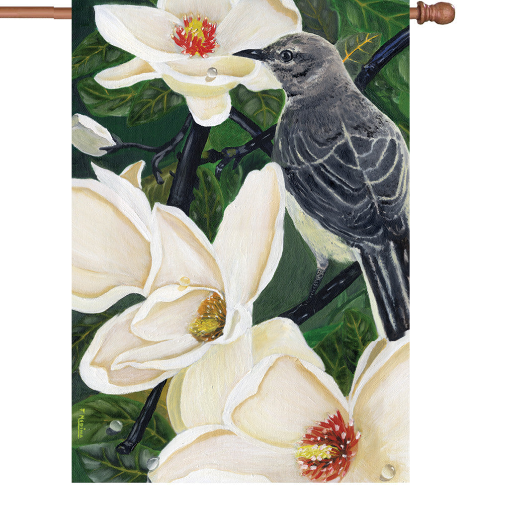 28 in. Bird with Flowers House Flag - Mockingbird & Magnolias