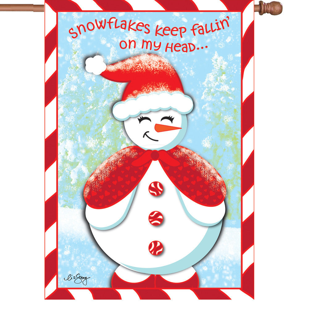 28 in. Christmas Snowman House Flag - Snow Cutie