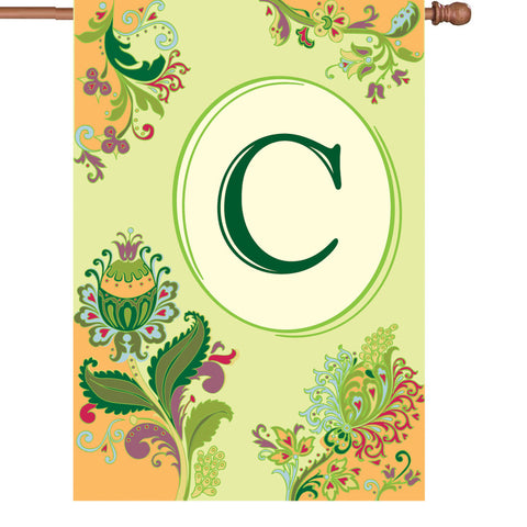 28 in. Monogrammed House Flag - Spring Monogram - Letter C