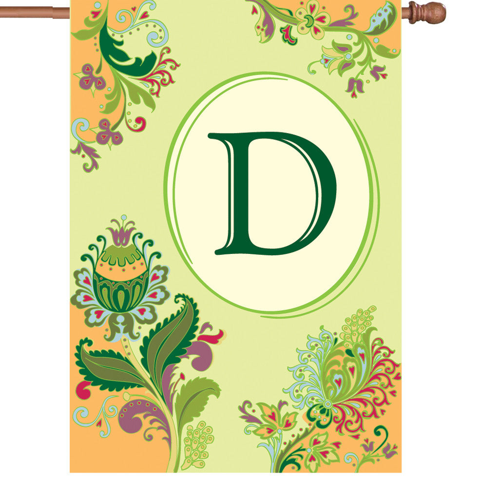 28 in. Monogrammed House Flag - Spring Monogram - Letter D