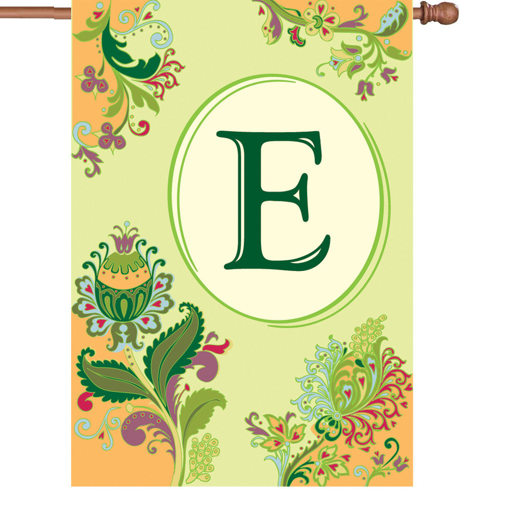 28 in. Monogrammed House Flag - Spring Monogram - Letter E