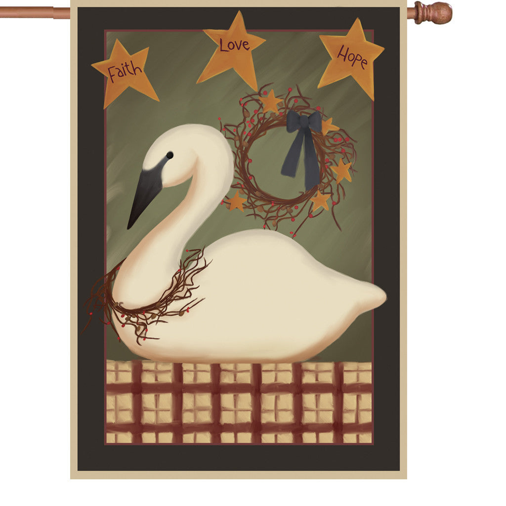 28 in. Country House Flag - Country Swan