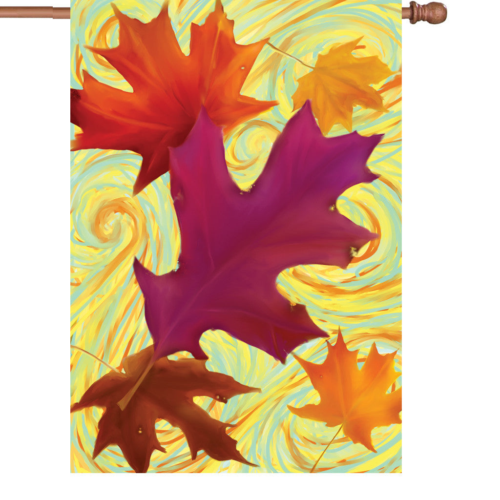 28 in. Autumn House Flag - Swirling Leaves