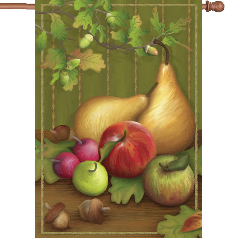 28 in. Vintage Still Life House Flag - Pears