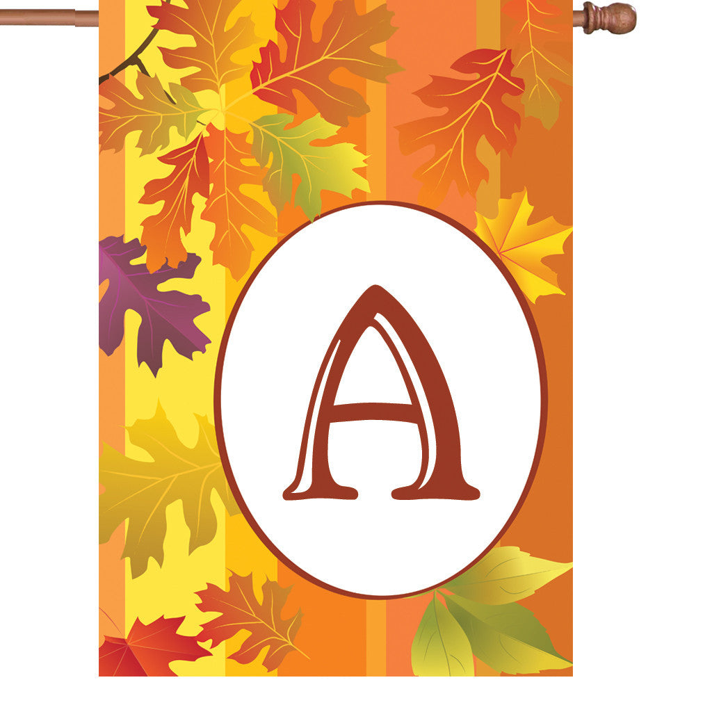 28 in. Monogrammed House Flag - Fall Monogram - Letter A
