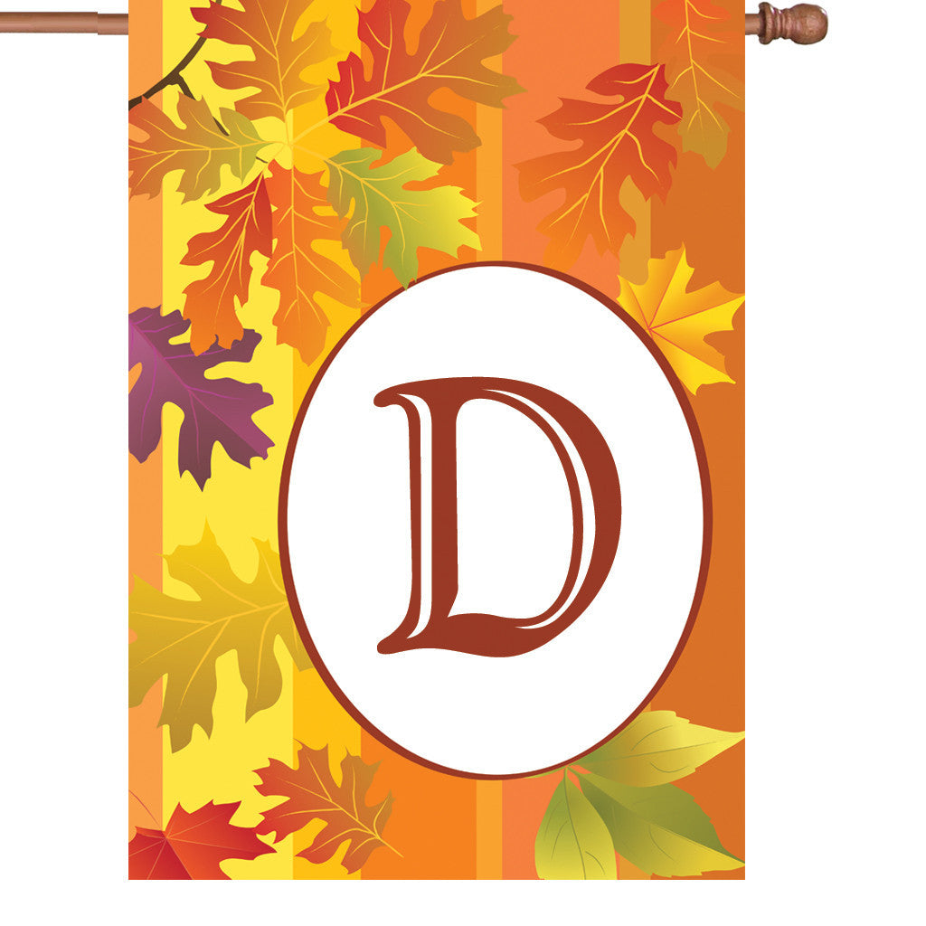 28 in. Monogrammed House Flag - Fall Monogram - Letter D
