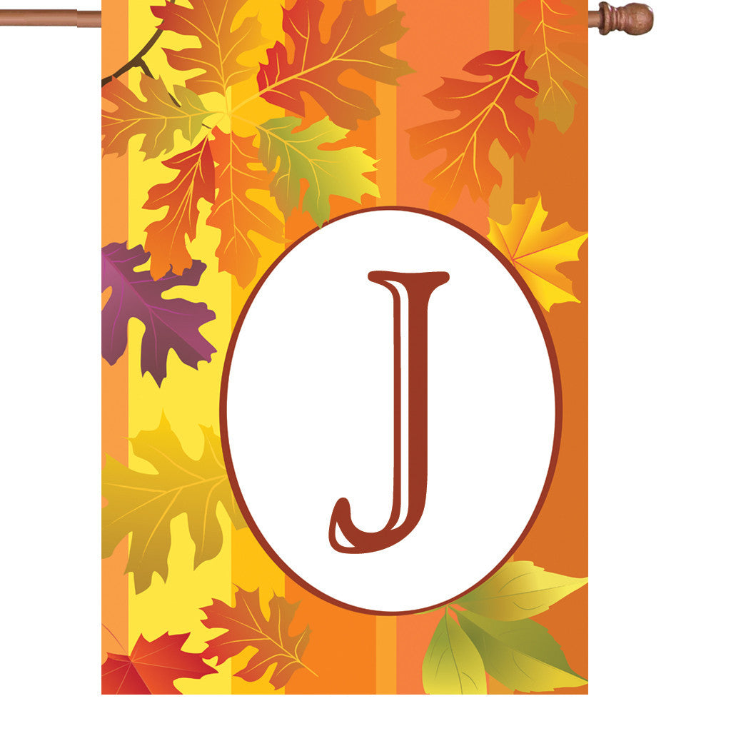 28 in. Monogrammed House Flag - Fall Monogram - Letter J