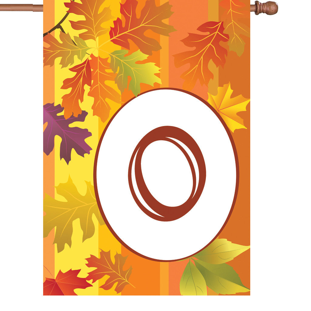 28 in. Monogrammed House Flag - Fall Monogram - Letter O
