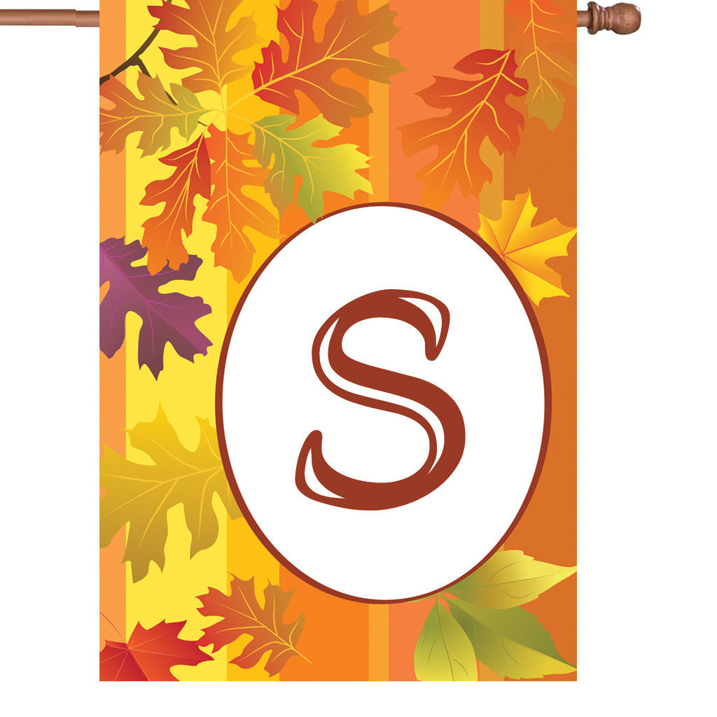 28 in. Monogrammed House Flag - Fall Monogram - Letter S