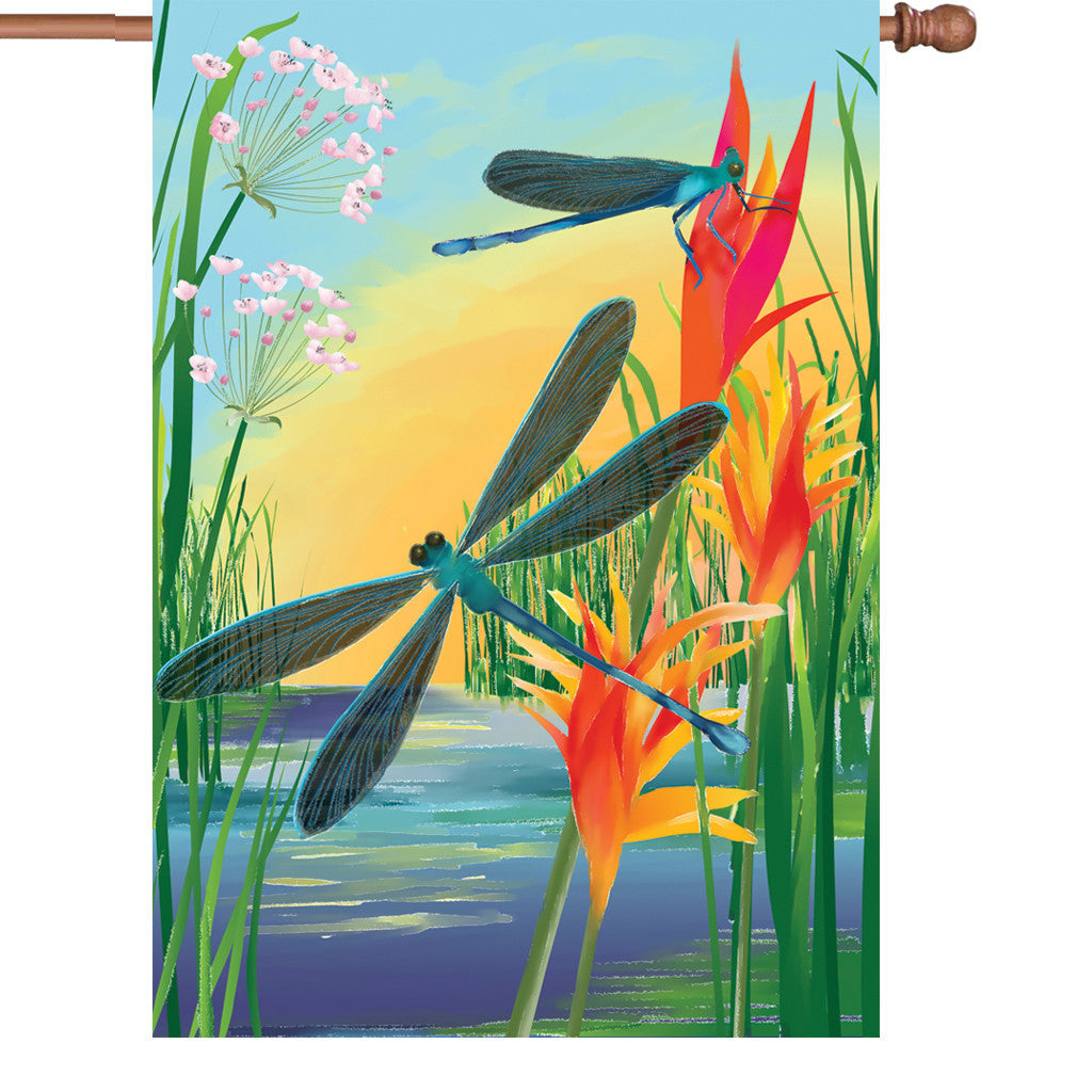 28 in. Dragonfly House Flag - Damselfly