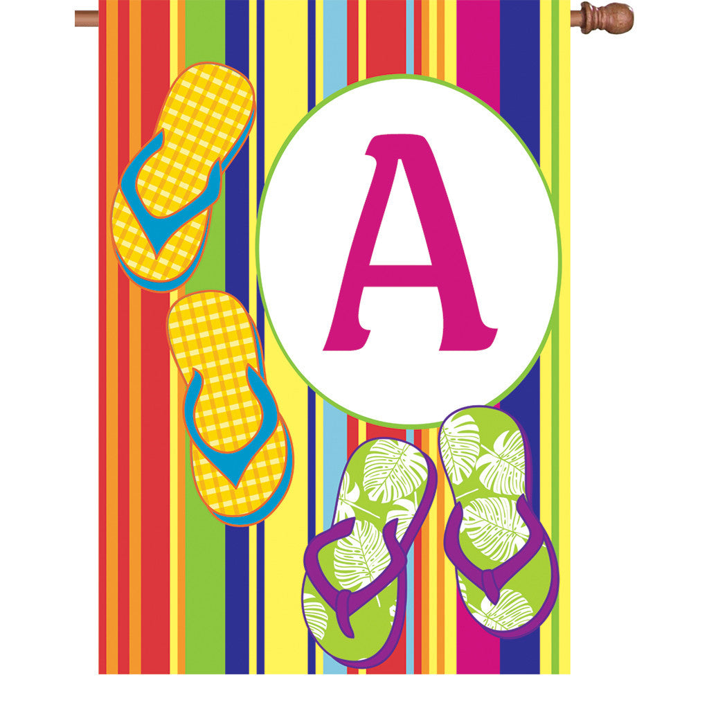 28 in. Monogrammed House Flag - Summer Monogram - Letter A