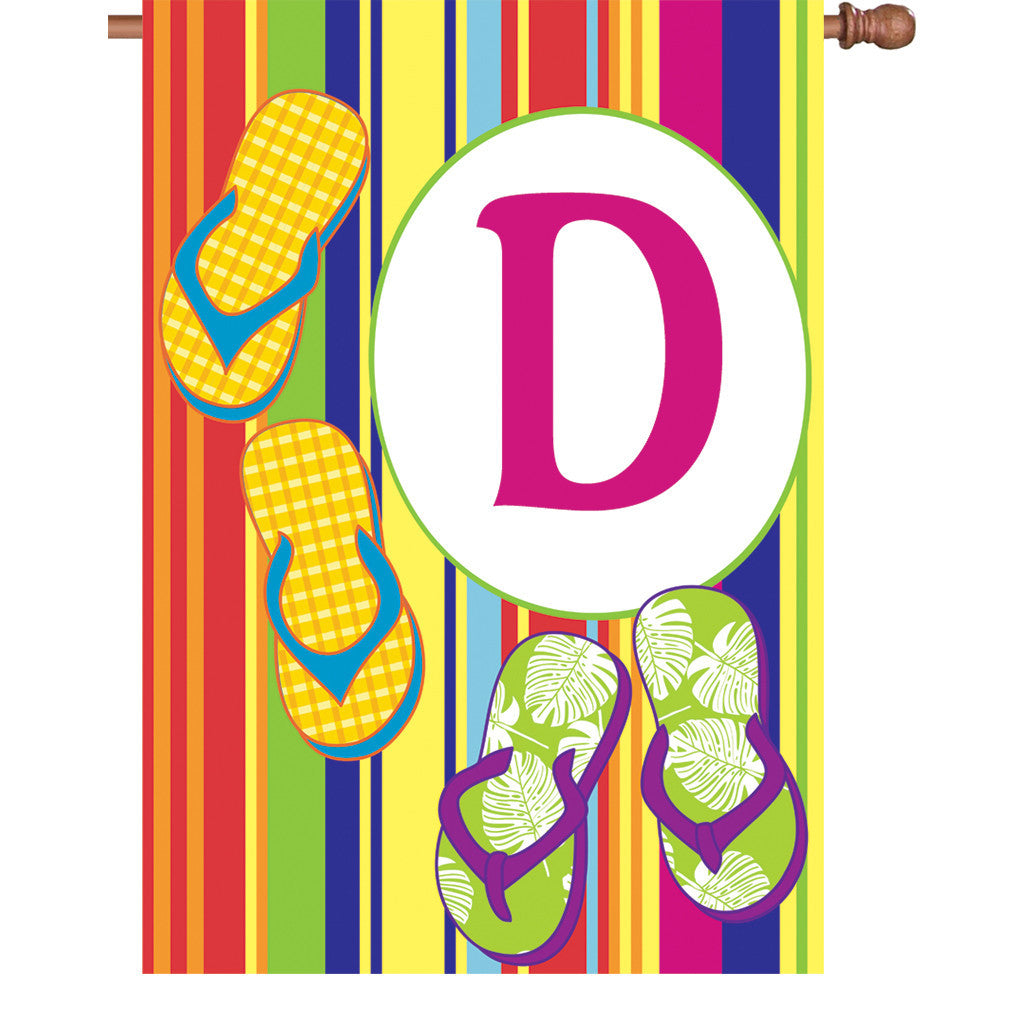 28 in. Monogrammed House Flag - Summer Monogram - Letter D