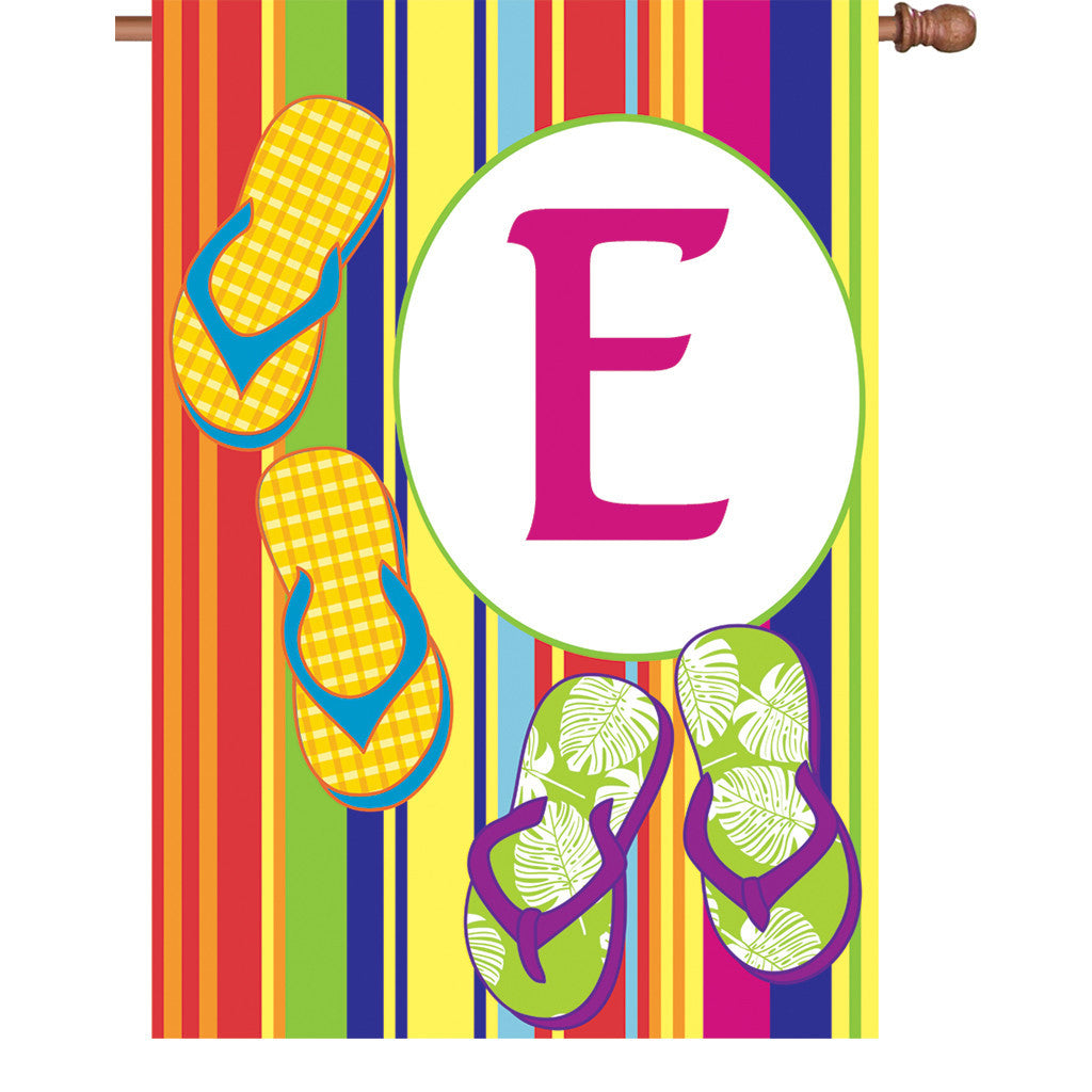 28 in. Monogrammed House Flag - Summer Monogram - Letter E