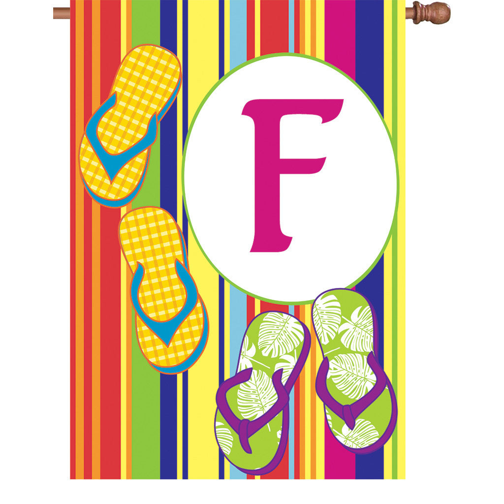 28 in. Monogrammed House Flag - Summer Monogram - Letter F
