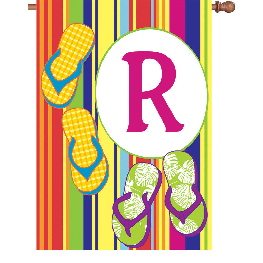 28 in. Monogrammed House Flag - Summer Monogram - Letter R