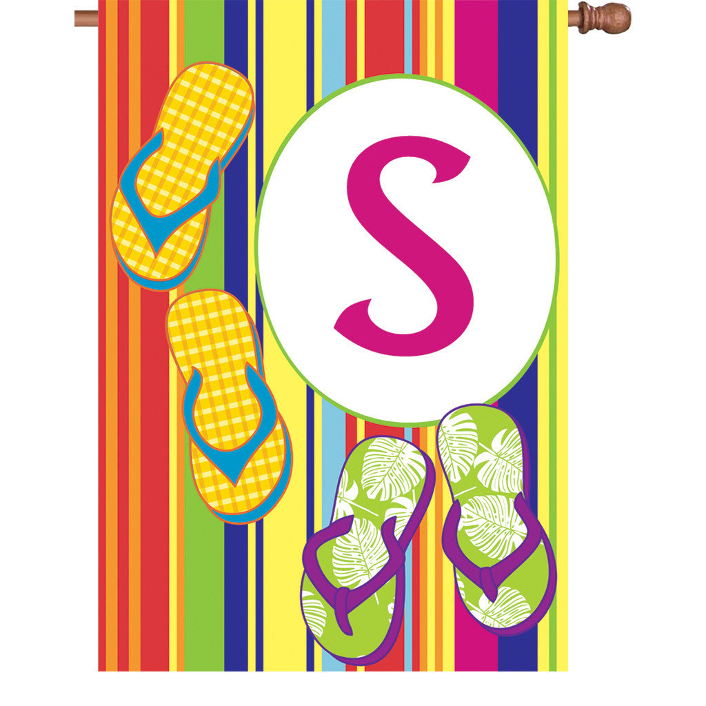 28 in. Monogrammed House Flag - Summer Monogram - Letter S