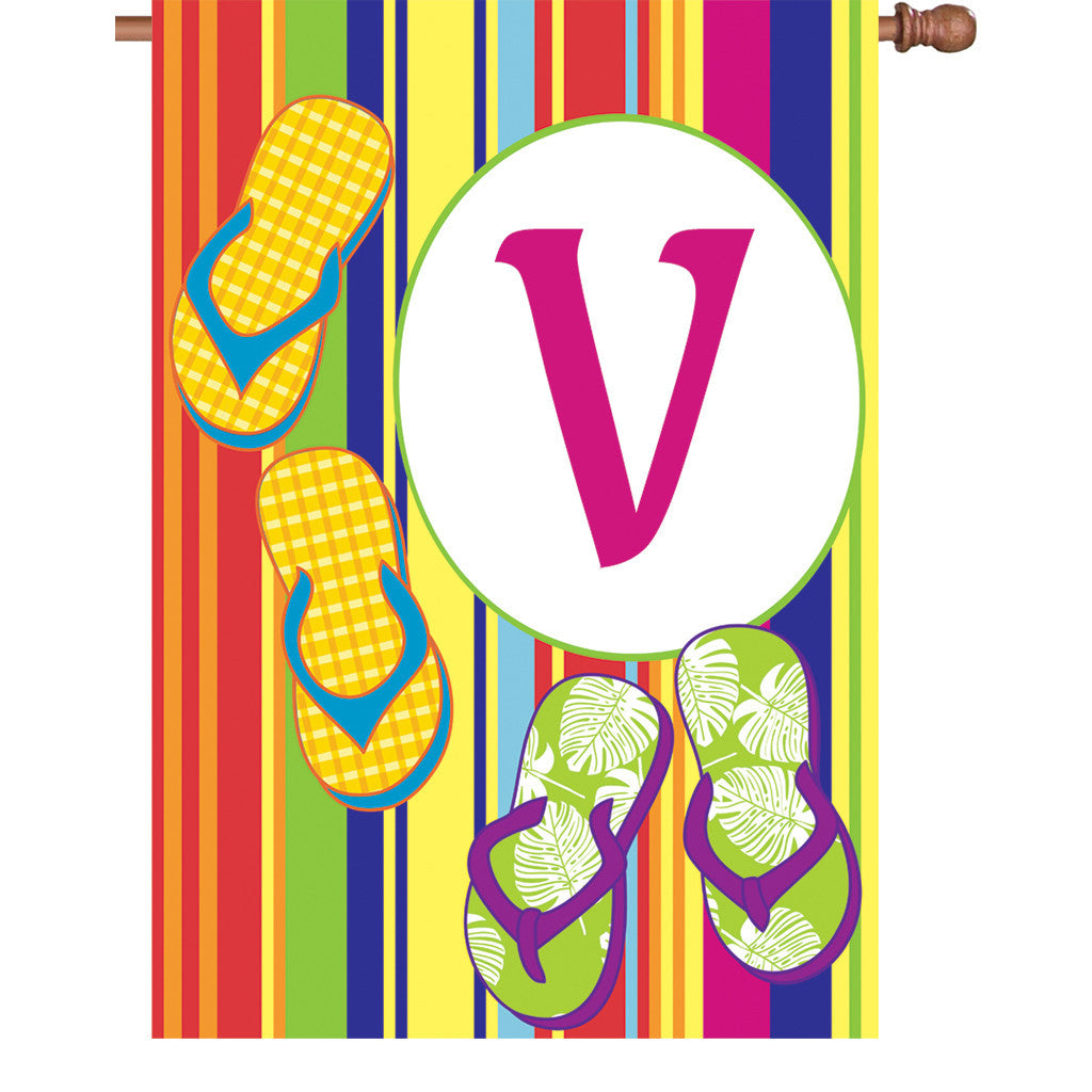 28 in. Monogrammed House Flag - Summer Monogram - Letter V