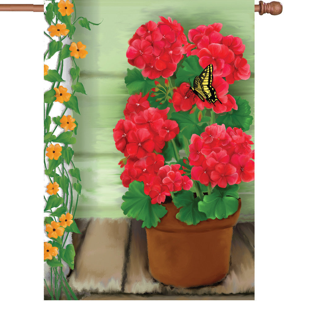 28 in. Flower House Flag - Geraniums