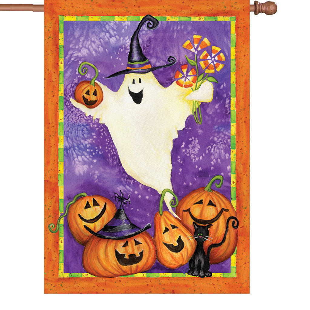 28 in. Halloween House Flag - Ghostly Gifts