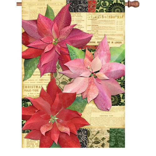 28 in. Christmas House Flag - Yuletide Poinsettia