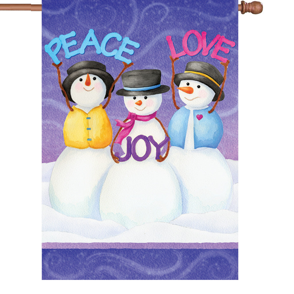 28 in. Christmas House Flag - Peace Love Joy