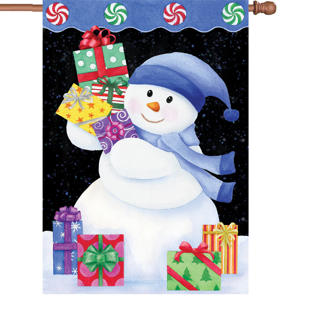 28 in. Christmas House Flag - Snowman Presents