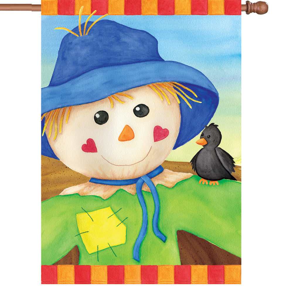 28 in. Thanksgiving House Flag - Hearty Scarecrow