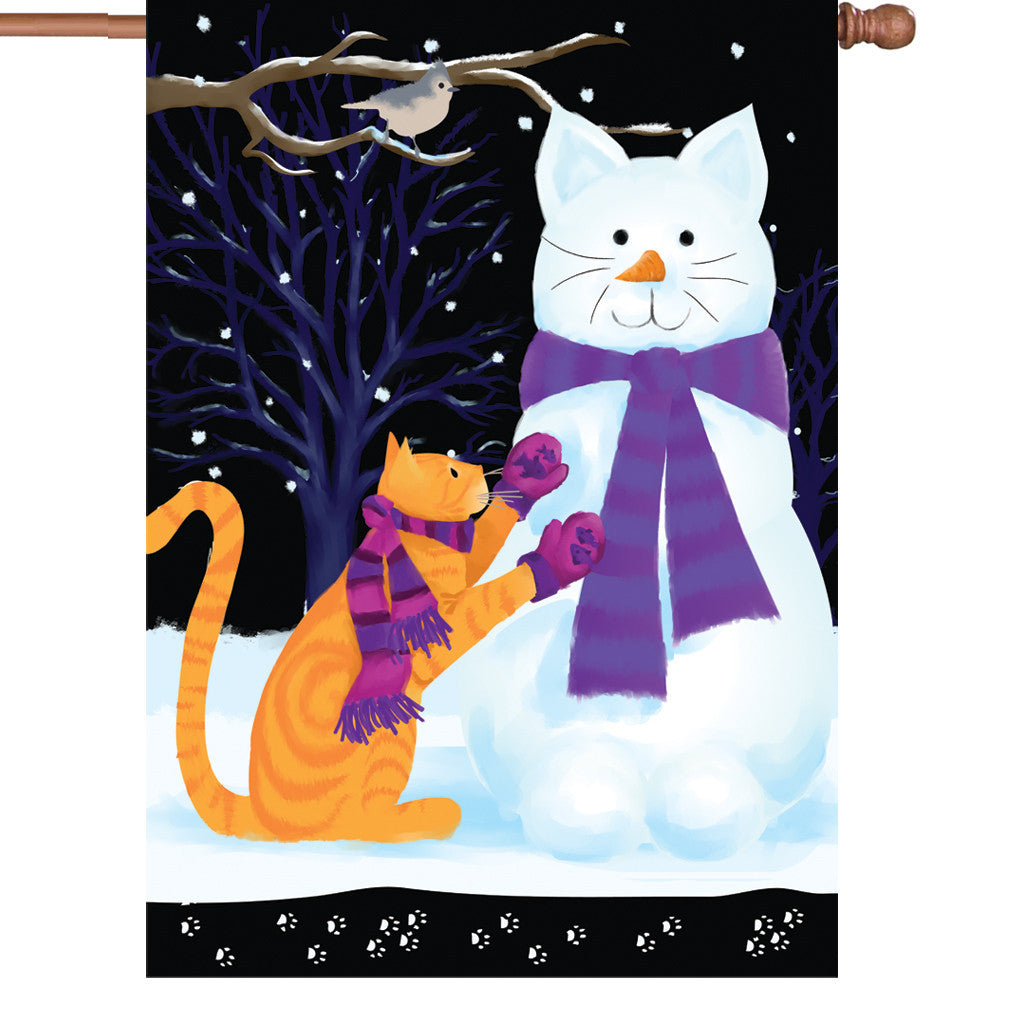 28 in. Christmas House Flag - Snow Cat