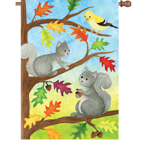 28 in. Fall House Flag - Squirrel Friends