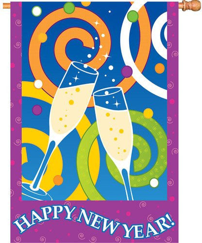 28 in. New Year's Eve House Flag - Happy New Year