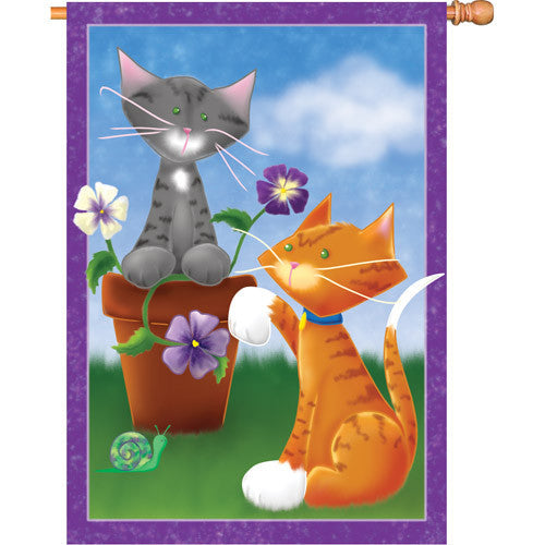 28 in. Cats & Flowers House Flag - Playful Kitties
