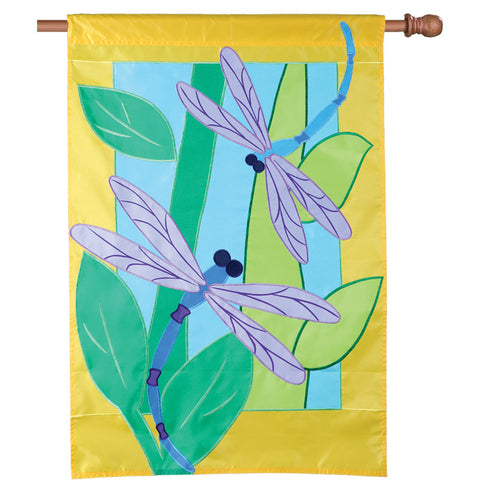 28 in. Applique House Flag - Two Dragonflies