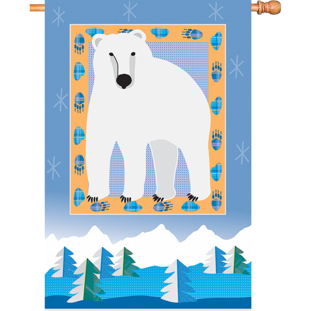 28 in. Winter House Flag - Polar Bear Mountain