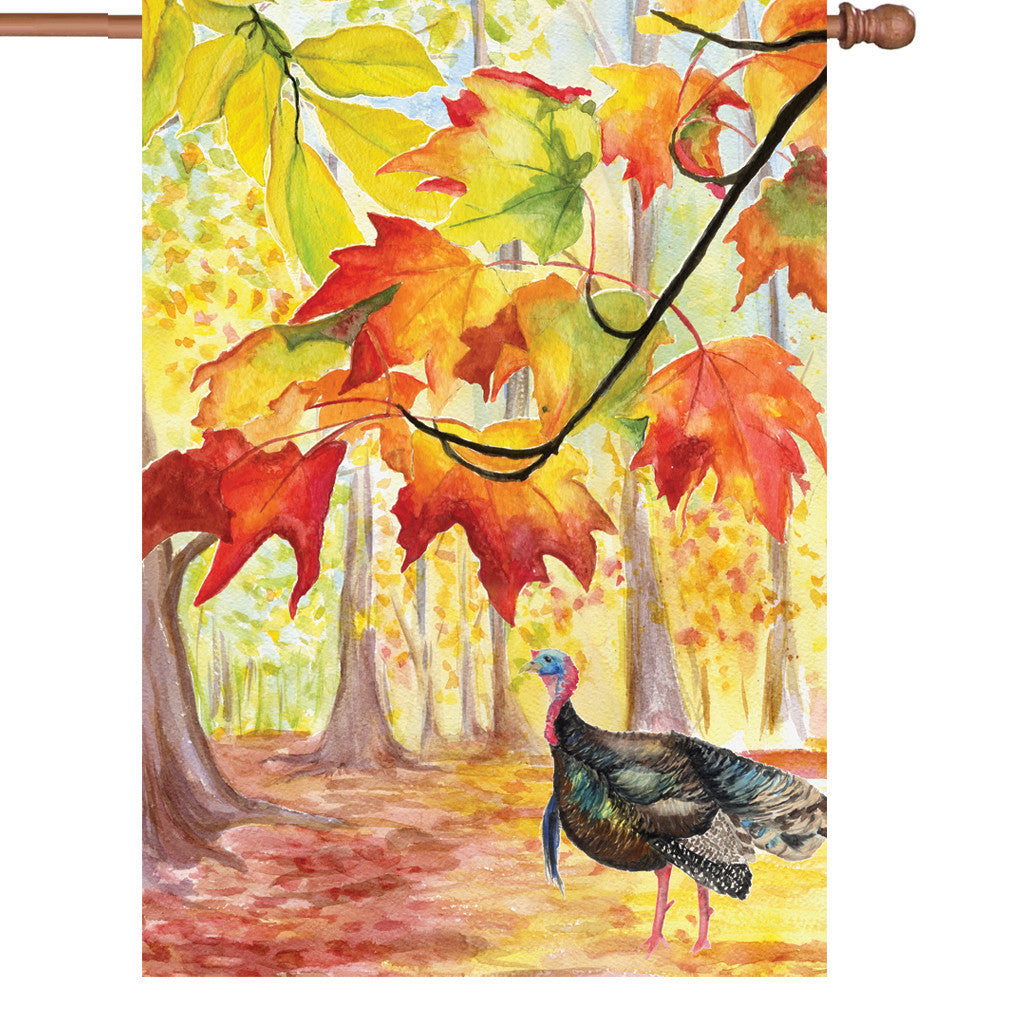 28 in. Thanksgiving House Flag - Turkey Hollow