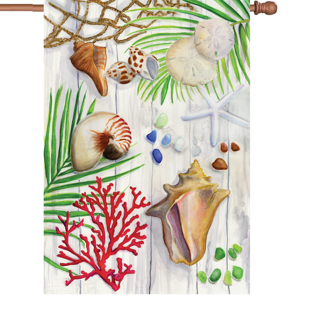 28 in. Seashell House Flag - Beach Combers Bounty