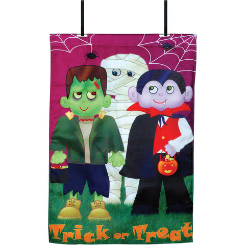 28 in. Halloween House Flag - Trick-or-Treat Monsters (Voice Controlled)