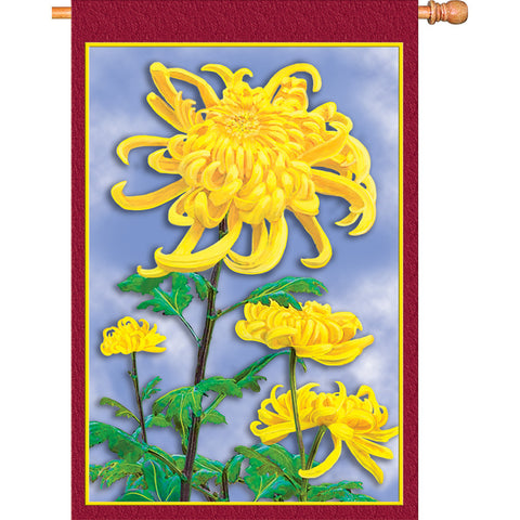 28 in. Fall House Flag - Autumn Mums
