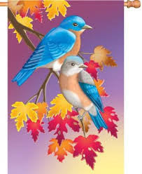 28 in. Autumn Bluebirds House Flag - Prelude in Blue