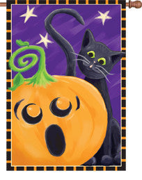 28 in. Halloween House Flag - Halloween Surprise Cat and Pumpkin
