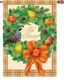 28 in. Thanksgiving House Flag - Fall Blessings