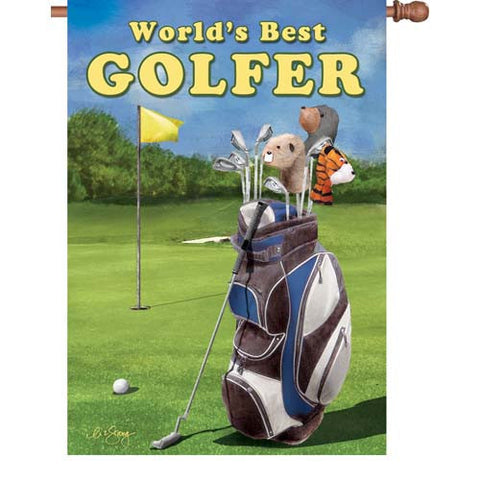 28 in. Golf House Flag - World's Best Best Golfer