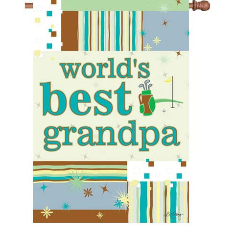 28 in. Golf House Flag - World's Best Grandpa