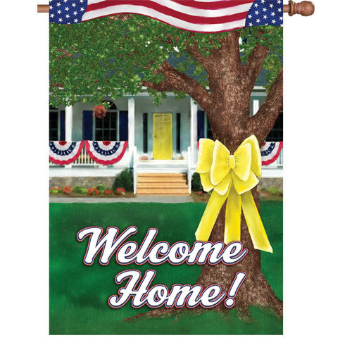 28 in. Support Our Troops House Flag - Welcome Home