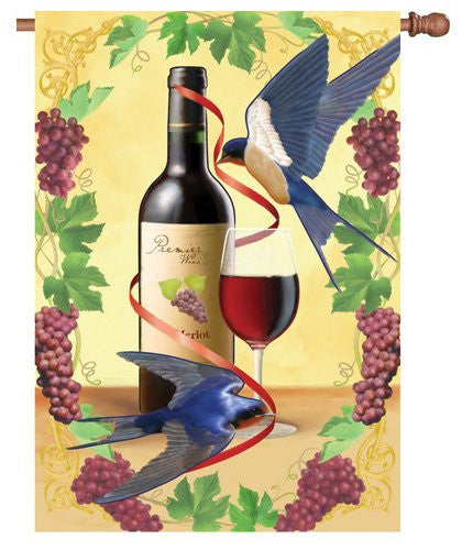 28 in. Wine House Flag - Swallows of Capistrano