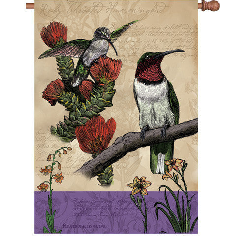 28 in. Vintage House Flag - All About Hummingbirds