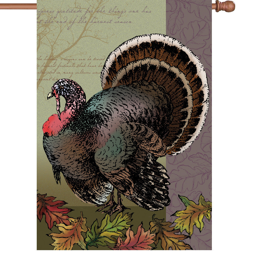 28 in. Thanksgiving House Flag - Fall Turkey